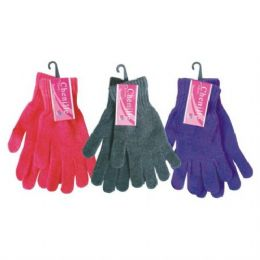 48 of Ladies Chenille Winter Glove Assorted Colors One Size Fits All