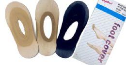 96 of Ladies' Foot Cover Sock Nylon One Size In Dark Beige