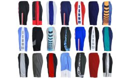 24 of Men's Assorted Active Shorts Basket Ball Shorts MoisturE-Wicking Mesh Fabric Size Xlarge