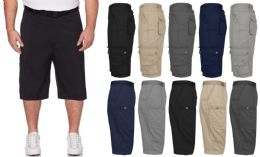 36 of Men's Belted Cotton Cargo Pocket Shorts Extended Sizes 44-50 In Navy