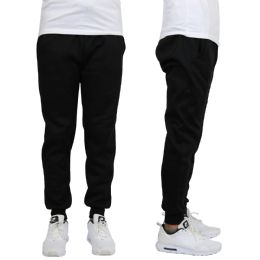 24 of Men's Heavy Weight Joggers In Black Size L