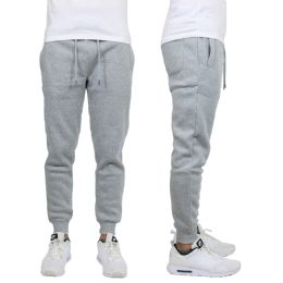 24 of Men's Heavy Weight Joggers In Heather Grey Size 2XL