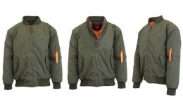 12 of Men's Heavyweight MA-1 Flight Bomber Jackets Olive Size Medium