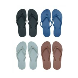 96 of Men's Solid Assorted Color Flip Flops