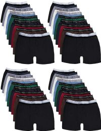 36 of Mens 100% Cotton Boxer Briefs Underwear, Assorted Colors Large