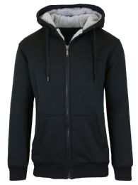 12 of Mens Black Fleece Line Sherpa Hoodies Assorted Sizes