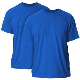 36 of Mens Cotton Crew Neck Short Sleeve T-Shirts Solid Blue, Large
