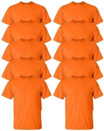 24 of Mens Cotton Crew Neck Short Sleeve T-Shirts Bulk Pack Solid Orange, Large