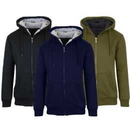 12 of Mens Fleece Line Sherpa Hoodies Assorted Colors And Sizes