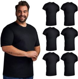 6 of Mens Lightweight Cotton Crew Neck Short Sleeve T-Shirts Black, Size XL