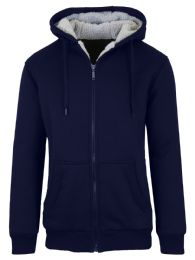 12 of Mens Navy Fleece Line Sherpa Hoodies Assorted Sizes