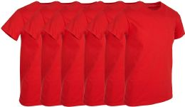 6 of Mens Red Cotton Crew Neck T Shirt Size Large