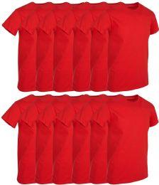 12 of Mens Red Cotton Crew Neck T Shirt Size Medium