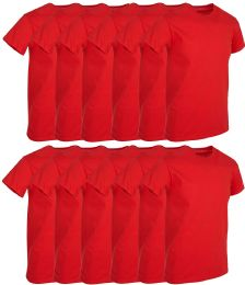 12 of Mens Red Cotton Crew Neck T Shirt Size Large