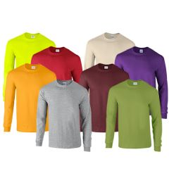 72 of Mill Graded Gildan Irregular Adults Long Sleeve T-Shirts Assorted Colors And Sizes