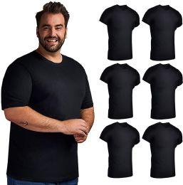6 of Plus Size Mens Lightweight Cotton Crew Neck Short Sleeve T-Shirts Black, 3XL