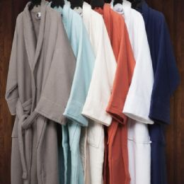 2 of Long Staple Cotton Unisex Waffle Weave Bath Robe In Coral