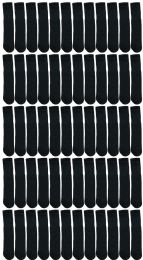 24 of Yacht & Smith Women's Cotton Tube Socks, Referee Style, Size 9-15 Solid Black 22inch