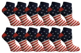 48 of Yacht & Smith USA Printed Ankle Socks Size 9-11
