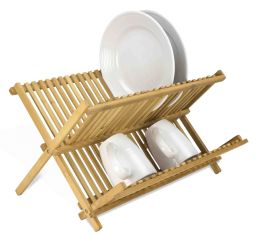 12 of Home Basics Bamboo Foldable Dish Drainer