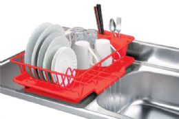 6 of Home Basics Vinyl Coated Steel Dish Drainer, Red