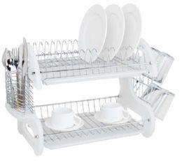 6 of Home Basics 2 Tier Plastic Dish Drainer, White