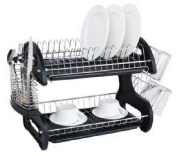 6 of Home Basics 2 Tier Plastic Dish Drainer, Black