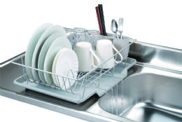 6 of Home Basics 3 Piece Vinyl Coated Steel Dish Drainer With Drip Tray, Silver