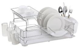 6 of Home Basics Chrome Plated Steel 2 Tier Deluxe Dish Drainer