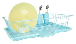 6 of Home Basics 3 Piece Dish Drainer, Turquoise