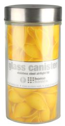12 of Home Basics Large 54 Oz. Round Glass Canister With AiR-Tight Stainless Steel Twist Top Lid, Clear