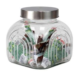6 of Home Basics Heritage 2.5 Lt Glass Jar With Silver Lid