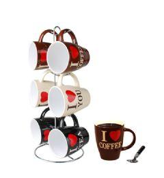 6 of Home Basics I Love Coffee 6 Piece Mug Set With Stand