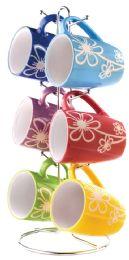 6 of Home Basics 6 Piece Daisy Mug Set With Stand, MultI-Color
