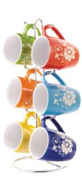 6 of Home Basics 6 Piece Floral Mug Set With Stand, MultI-Color