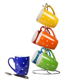 6 of Home Basics 6 Piece Polka Dot Mug Set With Stand