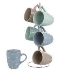 6 of Home Basics 6 Piece Polka Dot Mug Set With Stand, MultI-Color Pastel