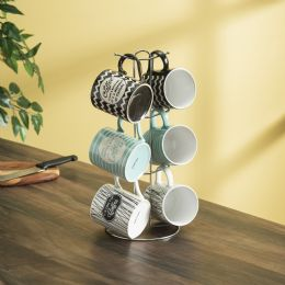6 of Home Basics It's Coffee Time 6 Piece Mug Set With Stand, MultI-Color