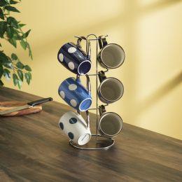 6 of Home Basics 6 Piece Polka Dot Mug Set With Stand, White