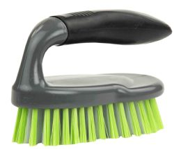 12 of Home Basics Brilliant Scrubbing Brush With Handle, Grey/lime