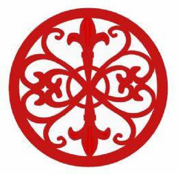 6 of Home Basics Fleur De Lis Collection Cast Iron Trivet, Red