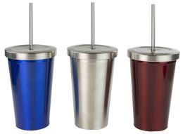 12 of Home Basics Stainless Steel Tumbler With Straw