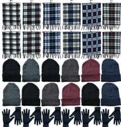 360 of Winter Bundle Care Kit Adult UniseX- Hats Gloves Beanie Fleece Scarf Set In Assorted Colors