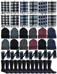 240 of Winter Bundle Care Kit For Men, 4 Piece - Hats Gloves Beanie Fleece Scarf Set In Assorted Colors