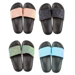 36 of Women's Glitter Strap Slide Sandal