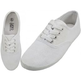 24 of Women's Lace Up Casual Canvas Shoes ( *white Color ) Size 6