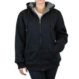 12 of Women's Loose Fit Oversize Full Zip Sherpa Lined Hoodie Fleece - Black Size Large