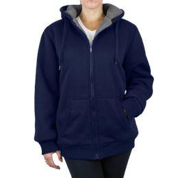 12 of Women's Loose Fit Oversize Full Zip Sherpa Lined Hoodie Fleece - Navy Size Medium