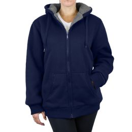 12 of Women's Loose Fit Oversize Full Zip Sherpa Lined Hoodie Fleece - Navy Size Large