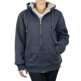 12 of Women's Loose Fit Oversize Full Zip Sherpa Lined Hoodie Fleece - Charcoal Size Medium